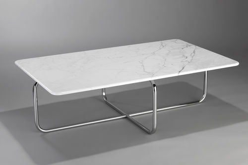 mesa de centro design Bauhaus / em mármore / em aço / para estabelecimento público