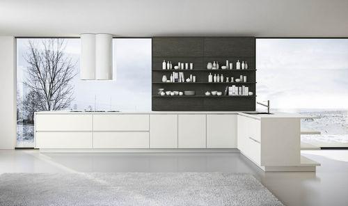 cozinha contemporânea / em melamina / em inox / com folheado de madeira