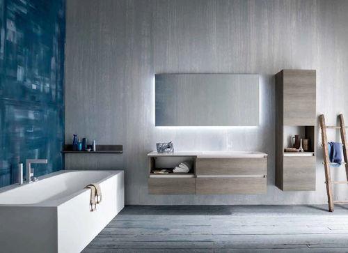 gabinete de banheiro suspenso / em carvalho / contemporâneo / em kit