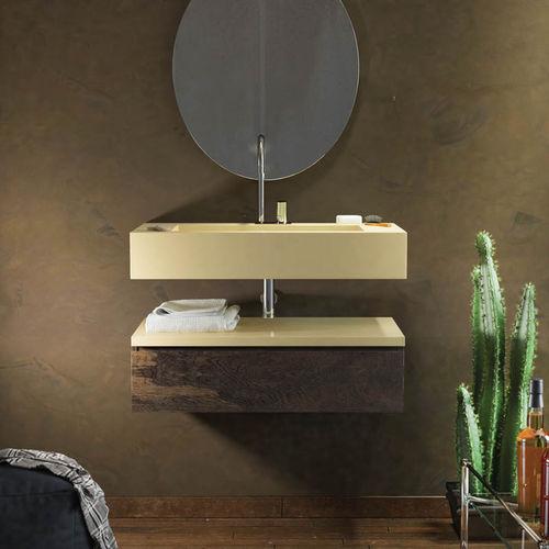 móvel de banheiro contemporâneo / em madeira / de parede / com gavetas