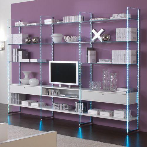 móvel de parede para TV contemporâneo / em madeira / em vidro / modular