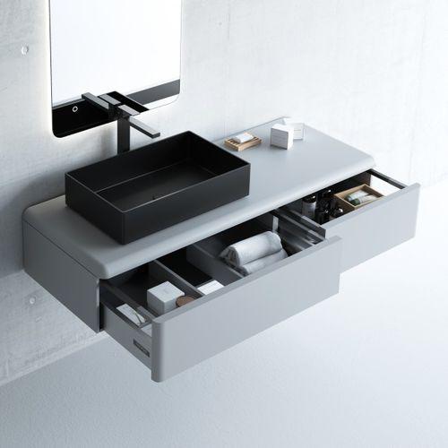 gabinete de banheiro suspenso / em MDF / contemporâneo / com gavetas
