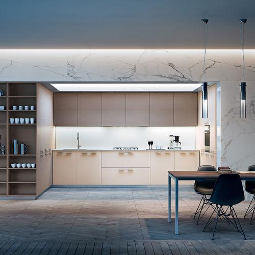 cozinha contemporânea / com folheado de madeira / em carvalho / lacada