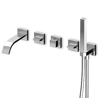 misturador bicomando para banheira / embutido / em metal cromado / em latão