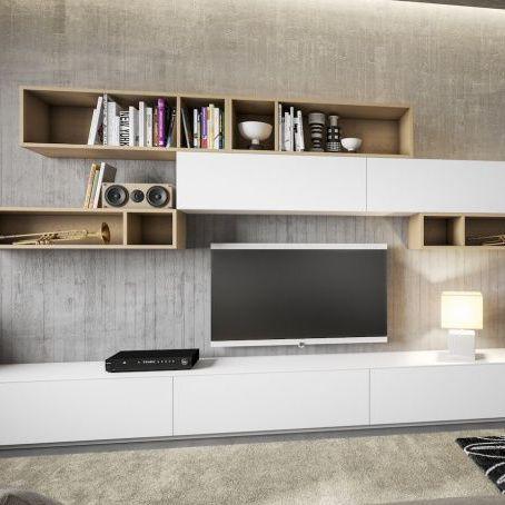 móvel de parede para TV contemporâneo / em melamina