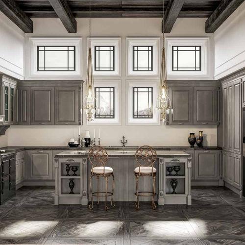 cozinha clássica / em madeira / com ilha / com pegas