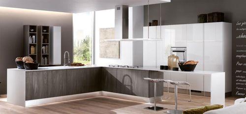 cozinha contemporânea / em melamina / em madeira / com ilha