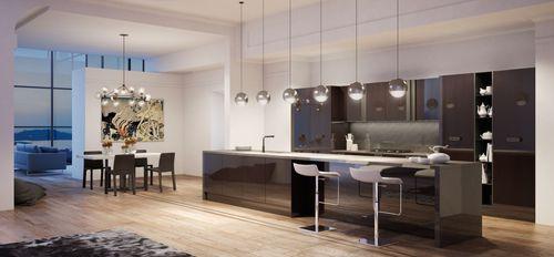 cozinha contemporânea / em inox / com folheado de madeira / com ilha