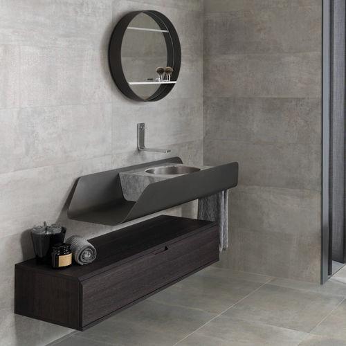 gabinete de banheiro suspenso / em madeira / metálico / contemporâneo
