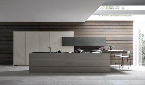 cozinha contemporânea / em madeira / em concreto / com ilha