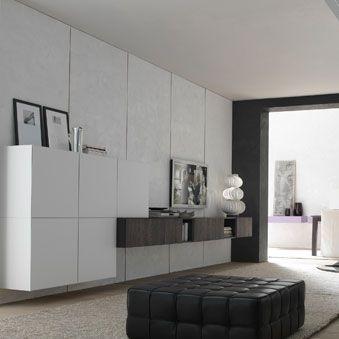 móvel de parede para TV contemporâneo / em madeira