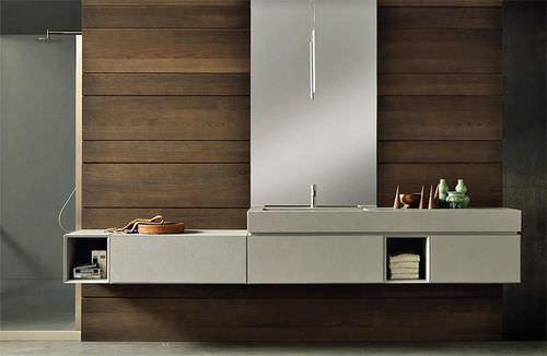 gabinete de banheiro suspenso / em madeira / contemporâneo / lacado