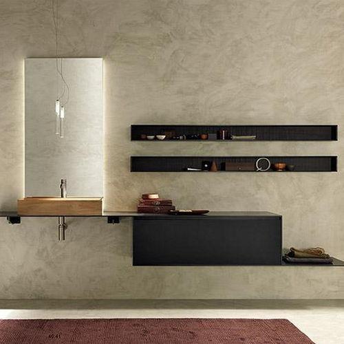 gabinete de banheiro suspenso / em madeira / contemporâneo / com espelho