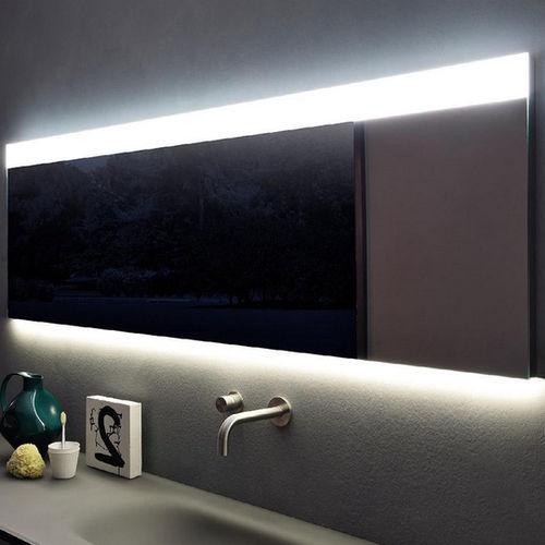 epelho para banheiro de parede / com iluminação / contemporâneo / retangular