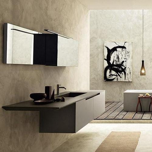 gabinete de banheiro suspenso / em madeira / contemporâneo / com armário integrado