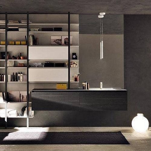 gabinete de banheiro suspenso / em carvalho / contemporâneo / com prateleiras