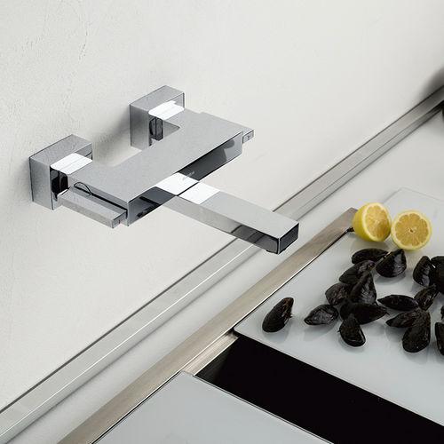 misturador bicomando de parede / em metal cromado / em aço / para banheiro