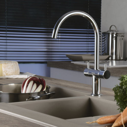 misturador bicomando de pousar / em metal cromado / em aço / para cozinha