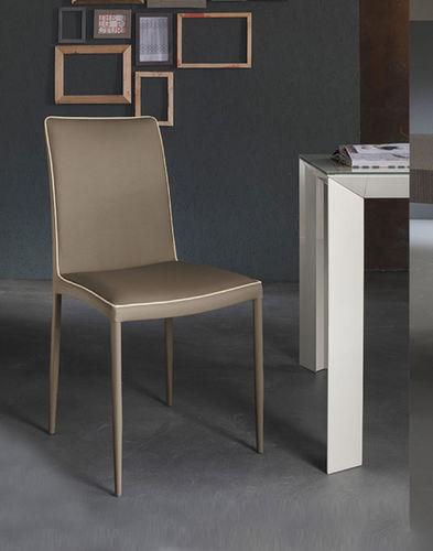 cadeira contemporânea / estofada / em couro / em aço