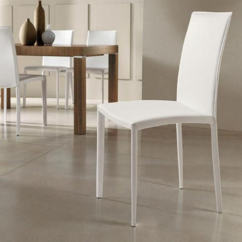 cadeira contemporânea / estofada / em aço / em couro
