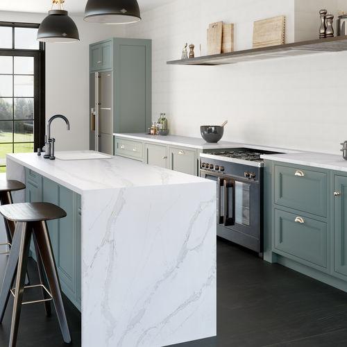 tampo de bancada em Silestone® / para cozinha / branco / cinza