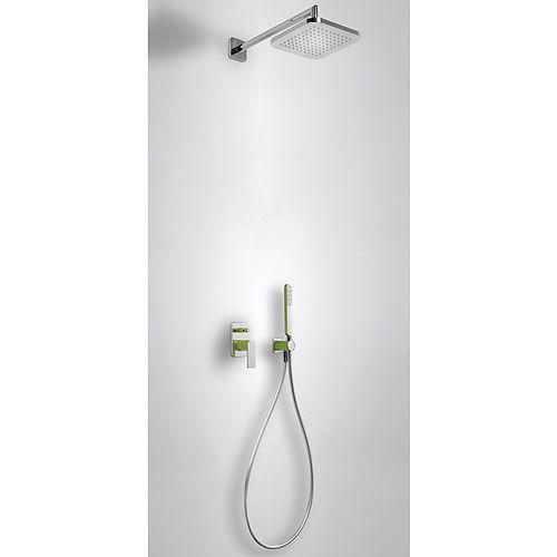 conjunto de chuveiro de embutir na parede / contemporâneo / com chuveiro de mão / com cabeça regulável