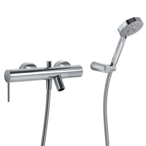 misturador monocomando para box de banheiro / para banheira / de parede / em metal cromado