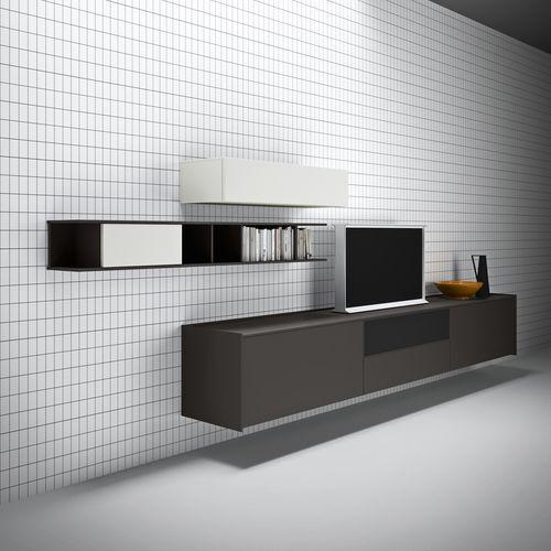 móvel de parede para TV contemporâneo / em madeira lacada