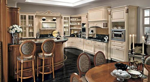 cozinha clássica / em nogueira / em granito / em U