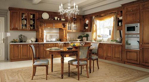 cozinha clássica / em cerejeira / em granito / em L