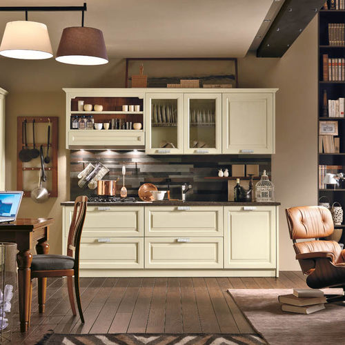 cozinha contemporânea / em madeira lacada / em pedra / com pegas