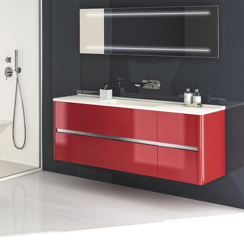 gabinete de banheiro duplo / suspenso / em madeira / em resina