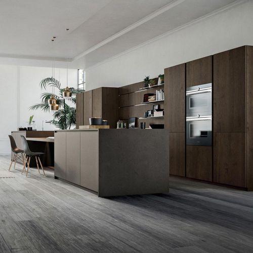 cozinha contemporânea / em madeira / em resina / com ilha