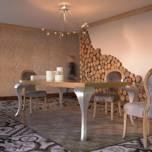mesa de jantar de estilo / em madeira / com pés em madeira / retangular