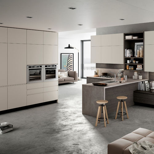 cozinha contemporânea / em acrílico / com folheado de madeira / em L