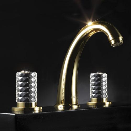 misturador bicomando para lavatório / de pousar / em ouro / para banheiro
