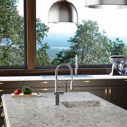tampo de bancada em compósito de quartzo / para cozinha