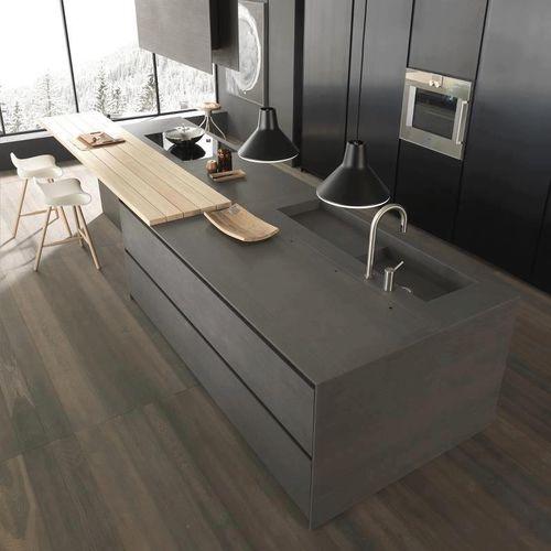 cozinha contemporânea / em concreto BFUHP Ductal© / com ilha / fosca