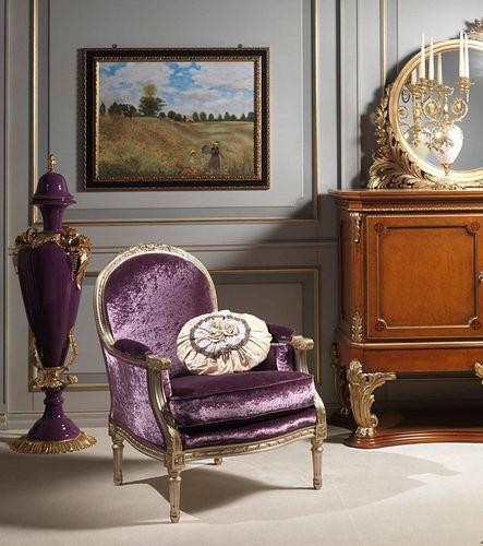 poltrona do estilo Luís XVI / em veludo / Bergère