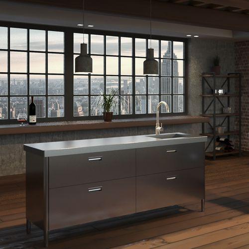 cozinha contemporânea / em inox / em aço inoxidável / com ilha