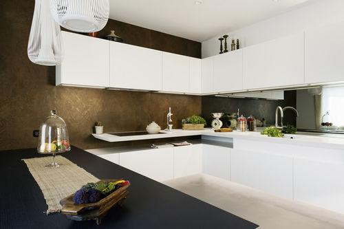 cozinha contemporânea / em madeira lacada / em Corian® / em U