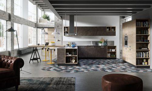cozinha contemporânea / em madeira / em L / com puxadores embutidos