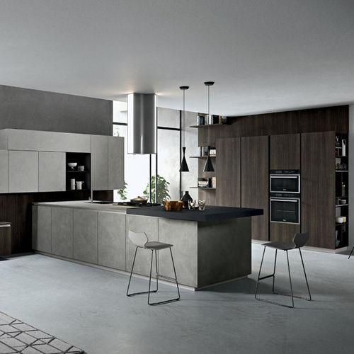 cozinha contemporânea / com folheado de madeira / em madeira lacada / com ilha