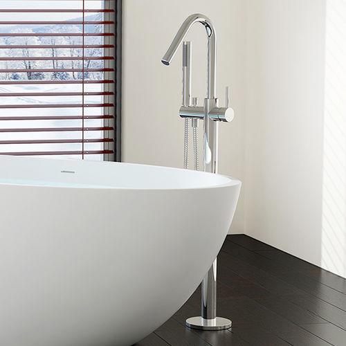 misturador monocomando para lavatório / para banheira / de piso / em latão cromado