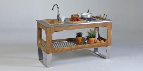 cozinha de jardim / contemporânea / em aço / em inox