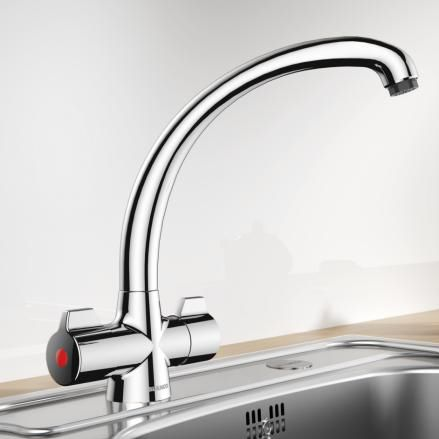 misturador bicomando de pousar / em metal cromado / em aço / para banheiro
