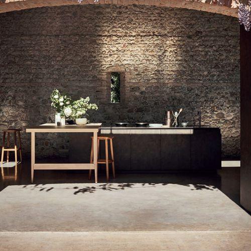 cozinha contemporânea / em aço inoxidável lacado / em melamina / em carvalho natural