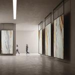 placa de pedra em porcelanato arenito / polida / para piso / para ambiente interno