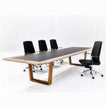 mesa de reunião contemporânea / em madeira / com pés em alumínio / retangular
