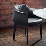 cadeira de sala de jantar contemporânea / estofada / com braços / com base convencional